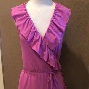 Hanna andersson wrap dress purple s small ruffle